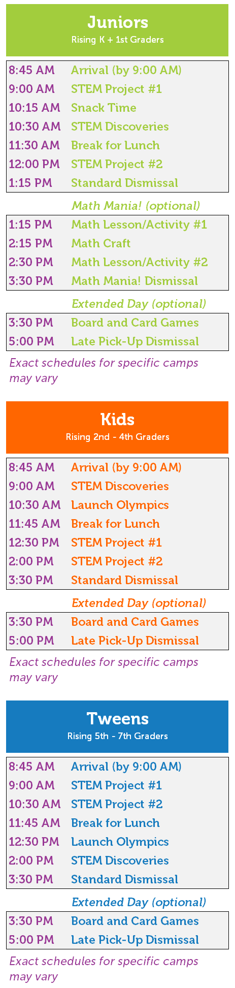 STEM Summer Camps for Kids from Kindergarten to 7th grade - Launch